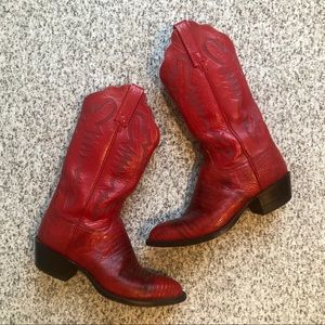 Lucchese red crocodile leather cowgirl boots
